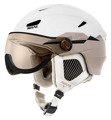 Relax Skihelm Stealth mit Visier | Snowboardhelm | Skihelmet | Race-Helm für Damen und Herren (weiß/beige, M (56-58cm))