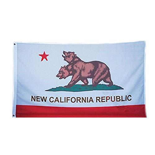 fedsjuihyg New California Republic Flag 3X5Ft Banner für Stab-Partei-Bürodekoration Polyester Leinwand Kopf mit Metall Grommet Doppelkopf Bear Flag 1Pc