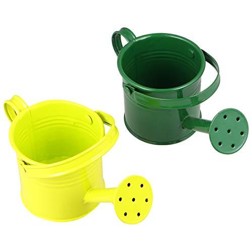 YARNOW 2 regaderas de metal para niños, para jardín, color verde y verde claro