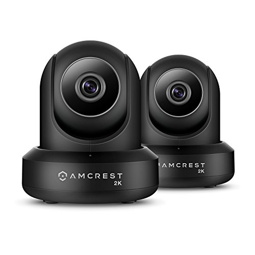 2-Pack Amcrest UltraHD 2K (3MP/2304TVL) WiFi Video Security IP Camera with Pan/Tilt, Dual Band 5ghz/2.4ghz, Two-Way Audio, 3-Megapixel @ 20FPS, Wide 90° Viewing Angle & Night Vision IP3M-941B (Black)