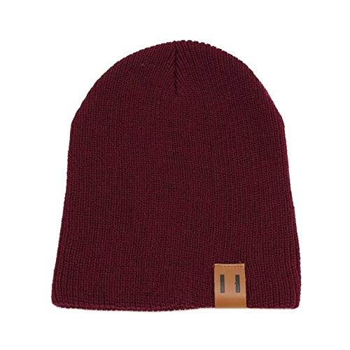 wopiaol Otoño/Invierno 11 Etiqueta de Cuero Sombrero de Punto Sombrero de Lana para Padres e Hijos Protección para los oídos Casco cálido Sombrero Tendencia