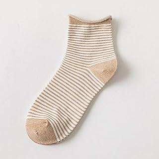 CYMTZ, 5 Pares/Paquete De Calcetines De Rayas para Mujer Primavera Y Otoño Calcetines De Algodón Sueltos Y Cómodos