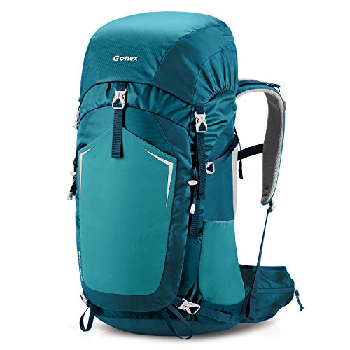 Gonex 55L Hiking Internal Frame Backpack Outdoor Backpacking Camping Trekking Climbing Backpack with Rain Cover for Men Women Blue