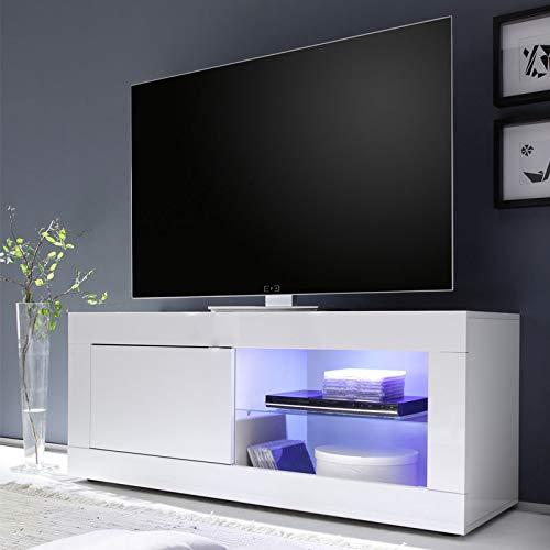 Tousmesmeubles Meuble TV 1 Porte 2 niches Blanc laqué Brillant à LEDs - Matera - L 140 x l 43 x H 56 - Neuf