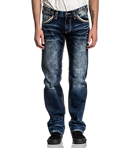 Affliction Men's Jeans, Ace Surge Edmonton Variant, Bleached Distressed Denim