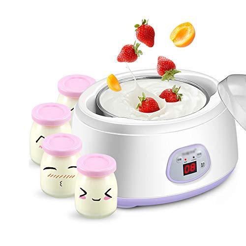 Joghurtbereiter,Joghurt-Maker,1L Liner + 4 Glasbecher, Intelligente Temperaturregelung, Intelligentes Timing, DREI Funktionen Von Joghurt/Natto/Reiswein