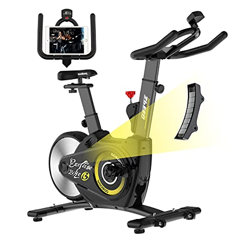 Indoor Exercise Bike pooboo Indoor Cyling Bikes Magnetic Resistance Stationary Bikes with Rear Flywheel and LCD Display for Home Cardio Workout Bikes (lemon)