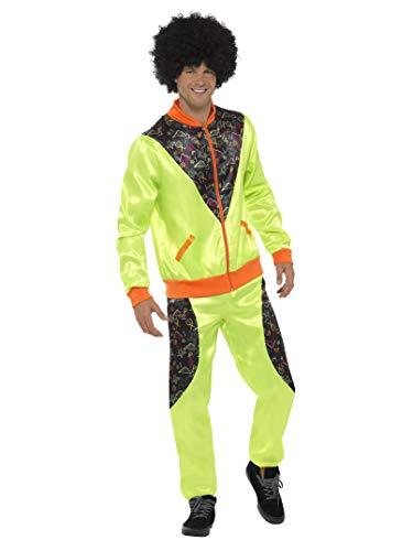 Smiffys Costume jogging rétro, homme, vert fluo, avec veste et pantalon - M