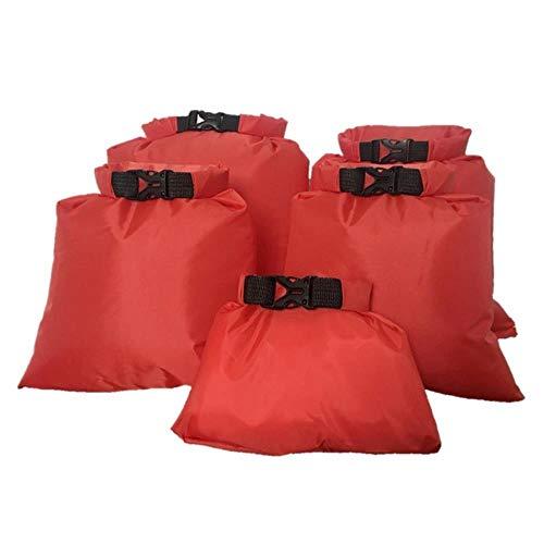 Zaino da Campeggio Impermeabile e Ultraleggero con Custodia asciutta Impermeabile da Campeggio Zaino per Escursioni in Canoa Galleggiante 5 Pezzi/Set, Colore Rosso