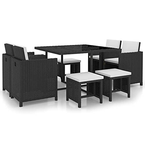 vidaXL Gartenmöbel 9-TLG. mit Auflagen Gartenset Sitzgruppe Sitzgarnitur Gartengarnitur Gartentisch Tisch Esstisch Stühle Poly Rattan Schwarz