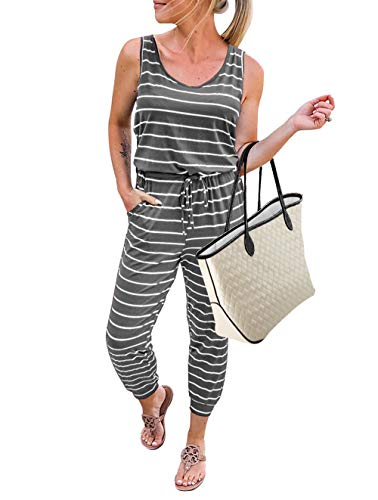 KIRUNDO 2020 Women's Casual Round Neck Sleeveless Jumpsuit Drawstring Waist Stretchy Long Pant Romper with Pockets (Small, Gray)