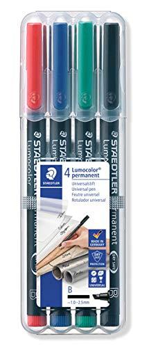 Staedtler Lumocolor Permanent 314 WP4 - Rotulador permanente punta biselada (B) de 1,0-2,5 mm aprox. Estuche Transparente exclusivo STAEDTLER box con 4 rotuladores en colores negro, azul, rojo y verde