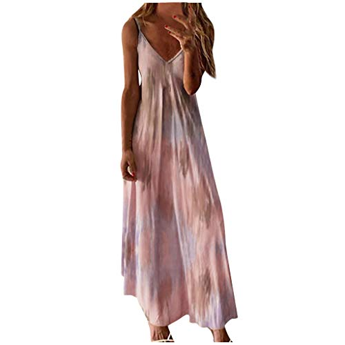 Women Sexy Plus Size Tie-dye Printed Long Dress, Ladies V-Neck Sleeveless Maxi...