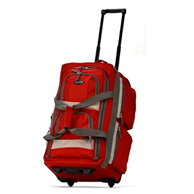 Olympia 8 Pocket Rolling Duffel Bag, Red, 29 inch