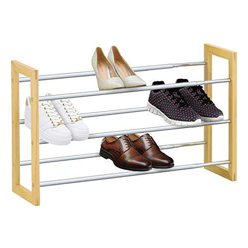 bois /Étag/ère /à chaussures bremermann/® tablettes pour chaussures extensibles marron mat/ériau : m/étal chrom/é
