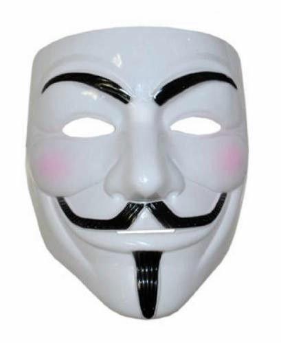 takestop® VENDETTA masker van wit kunststof ANONYMOUS HALLOWEEN CARNEVAL