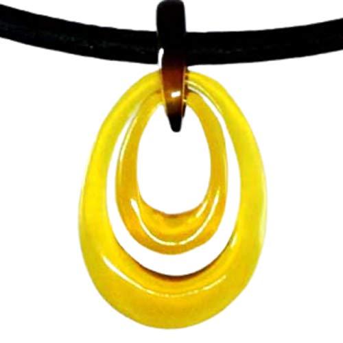 本べっ甲 飴色 二重滴型 ペンダント アジャスター革紐で41センチから46センチまで調節可能 ペンダントトップ ネックレス アクセサリー