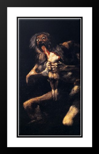 Saturn Devouring His Sons 20x23 Framed and Double Matted Art Print by Goya, Francisco de
