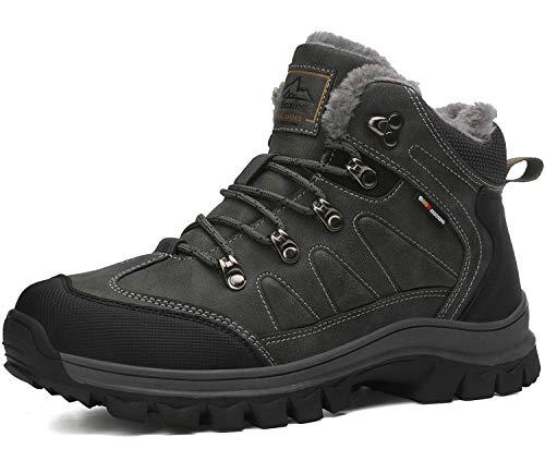 AX BOXING Winterschuhe für Herren Schuhe Winter Winterstiefel Arbeitsstiefel Schneestiefel Schneeschuhe (45 EU, 9074-Grau)