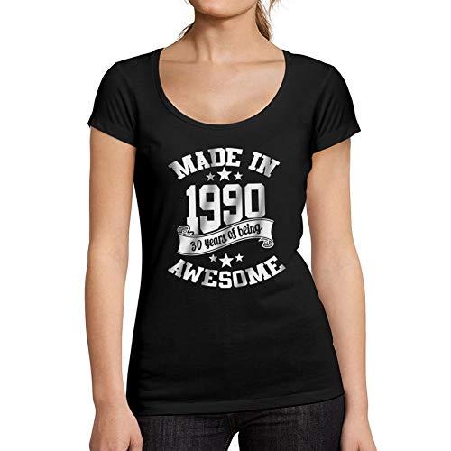 Ultrabasic - T-Shirt Donna Girocollo Made in 1990 Regalo di Compleanno 31 Anni Maglietta Idea Regalo per Il 30 � Compleanno Nero Profondo