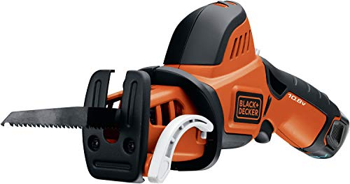 BLACK+DECKER Scie Elagueuse Sans Fil , 10,8V, Lame Interchangeable, Lames à Attache en U ou T, Semelle Profilée Courbée, Coupe des Sections jusqu'à 7,5 cm, 1 Batterie et 1 Lame 13 cm, GKC108-QW