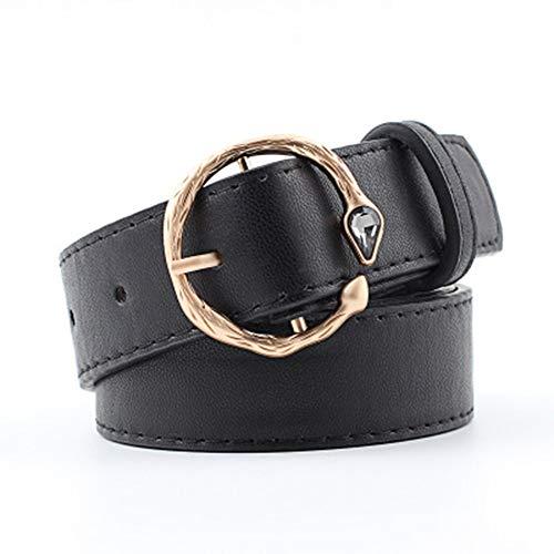 TYJKL Cinturón De Mujer Señoras de la Personalidad con Incrustaciones de la Gema Hebilla de cinturón Retro Salvaje Estudiante para Vestido De Pantalones De Mezclilla (Color : Black)