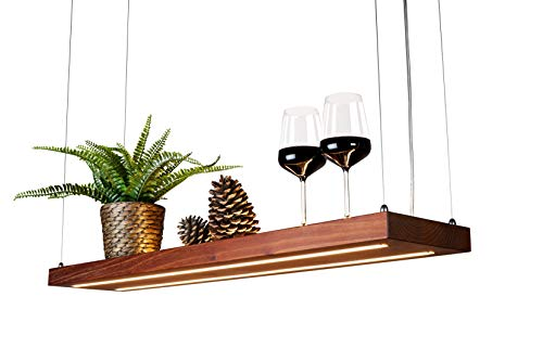 LED Hängelampe   Perfekt über dem Esstisch   Pendelleuchte holz   Edles Design   aus massiver Akazie   als Regal verwendbar   Dimmbar   (Akazie 100 cm)