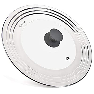 WISH Universal Lid for Pots and Pans Fit All 8.25 Inch to 12.5 Inch Pots/Pans/Woks, Stainless Steel and Glass Lid Cover for Lodge Cast Iron Skillets Frying Pans - Upgrated Silicone Knob