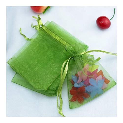 10 x Organza-Geschenkbeutel, Schmuck-Verpackung, Hochzeitsbeutel und -beutel, Babyparty-Dekoration (Farbe: Obstgrün, Größe: 15 x 20 cm)