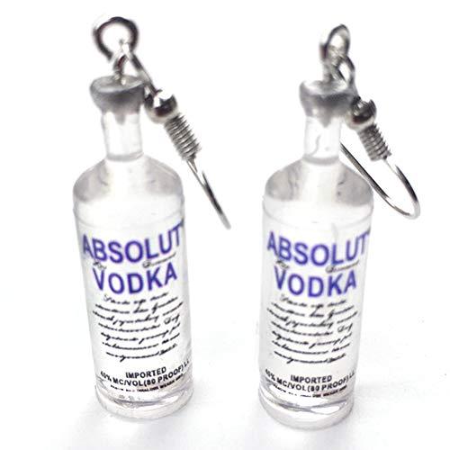 1 Paar handgemachte kühle Flasche Wodka-Tropfen-Ohrringe Interessante Getränkeflaschen baumeln Ohr-Haken