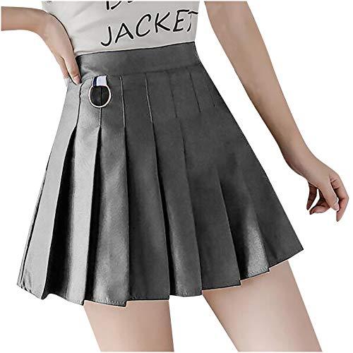 U.Expectating-Home Mujeres Niñas Color Sólido A-Line Culottes Cintura Alta Falda Corta Falda Plisada Falda Escolar Tenis, Estilo Femenino Lindo, Juego Invierno