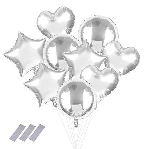 """9 piezas Globos redondos de corazón/estrella/piezas de plata, globo de estilo de mezcla de helio de aluminio de 18"""", decoración para fiestas, cumpleaños, baby shower, bodas, disfraces"""