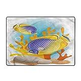 Alfombras de área suave para dormitorio, exótico, salvaje pequeño acuario peces arte, 3.3 x 5.25 pies decoración del hogar alfombras