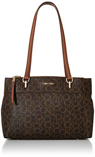 Calvin Klein Hayden Signature Triple Entry Shoulder Bag Satchel, BROWN/KHAKI/LUGGAGE
