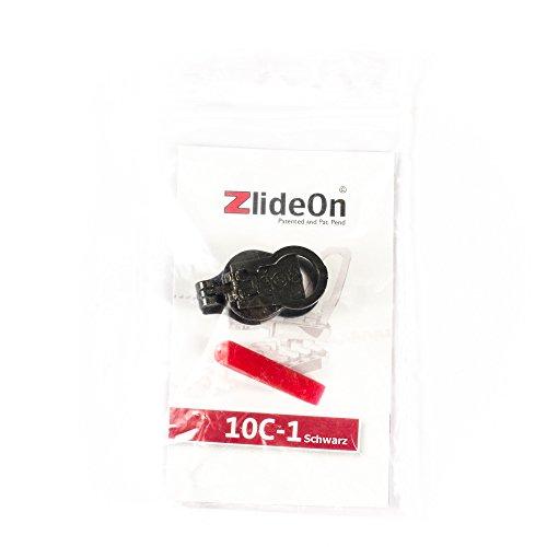 ZlideOn–Ersatz-Schieber Clip 10C schwarz für große Nylon-Spiralreißverschlüsse (10,20–10,50mm)