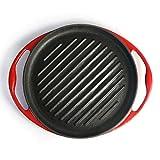 XuZeLii Padella in Ghisa Cast Iron Grill Pan Pan Steak Pre Stagionato Grill Pan for Grigliate di Bacon Bistecca E Carni Adatto per Bistecca E Verdure (Colore : Red, Size : 25x3x2.5cm)