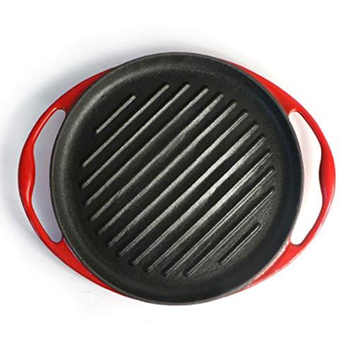 CHENSHJI Cast Iron Grill Pan Steak Pan Pan Grill Pré Assaisonné for Griller Bacon Steak Et Viandes Plaque chauffante pré-assaisonnée (Couleur : Red, Size : 25x3x2.5cm)