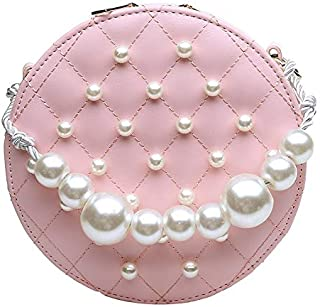 Adebie - Circular PU Chains Pearl Messenger Bags for Women 2019 Mini New Summer Sweet Shoulder Handbags Fashion Famous Brand Tote Bag Pink []