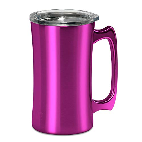 True North Stainless Steel Insulated Beer Mug Tumbler + Tankard with No-Spill BPA Free Triton Lid, Keeps Drinks Warm or Cold for 24 Hours, Perfect for IPA, Coffee, Tea or Wine, 20 oz, Jewel Pink