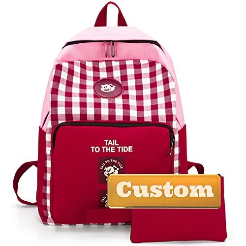 Bolso Personalizado Personalizado Book Book Classic Backpack Kid Cuero Viajar Girly College Bookbag (Color : Fenhongse, Size : One Size)