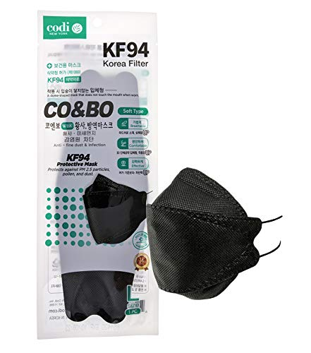[Pack of 20] CO&BO Well-Being Hygiene KF94 Face Masks WK-950 Black [Individually Packaged] - Made In Korea