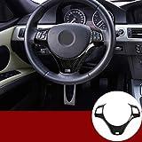YIWANG Cubierta para volante de coche de fibra de carbono estilo ABS cromado para 1 serie 3 5 puertas M Sport Coupe E82 E87 E90 E93 2005-2014 accesorios de coche (fibra de carbono)