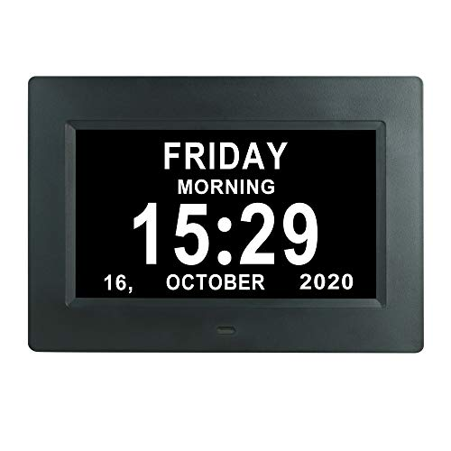 7 Inch Extra Large Day Date Time Digital Day Calendar Clock with Auto-Dimming 12 Alarm Reminders Dementia Clocks for Senior Elderly impaired Vision Memory Loss
