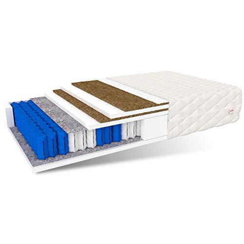 FDM Matratze CRETE 120x200 hochwertige 7-Zonen Taschenfederkernmatratze Härtegrad H5/H3 2x kokos polyurethanschaum polyester 27 cm hohe, Einzel