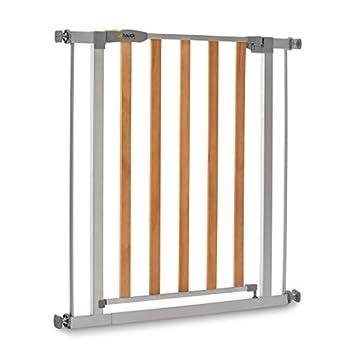 Hauck Barrière de Sécurité pour Enfants Wood Lock 2 / Sans Percage / de 75 à 80 cm / Extensible avec Extensions (pas inclus) / Métal et Bois / gris