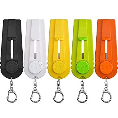TOODOO 5 Pieces Cap Zappa Beer Bottle Opener Cap Shooters Launchers Key Ring, 5 Colors