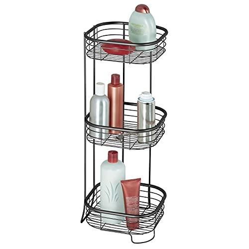 mDesign Estantería de baño – Mueble esquinero para la ducha de acero inoxidable con 3 baldas – Estante de baño para lociones, toallas de mano, jabón, etc. – negro mate