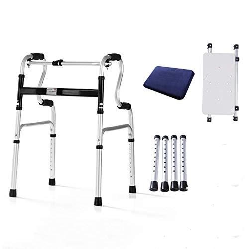 ZXL Opvouwbare rollator van aluminium, 2-in-1 loophulp met zitting en kussen voor oudere mensen