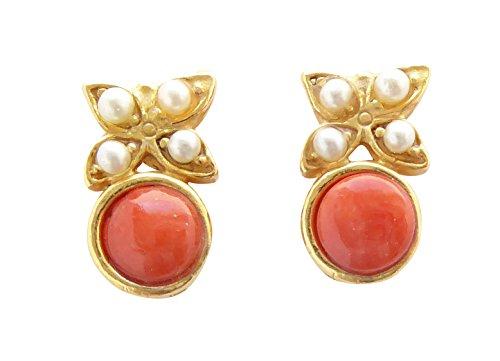 Kleine verspielte Korallen-Ohrstecker Ohrringe orange-rot Süßwasser-Perlen echt Silber vergoldet...