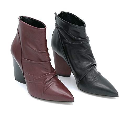 Noa TM 906 Stiefel, gewelltes Leder, Rubin schwarz, Absatz, 8 cm, Größe 39, Farbe Schwarz